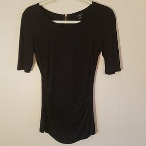 Ann Taylor black top with exposed gold zipper